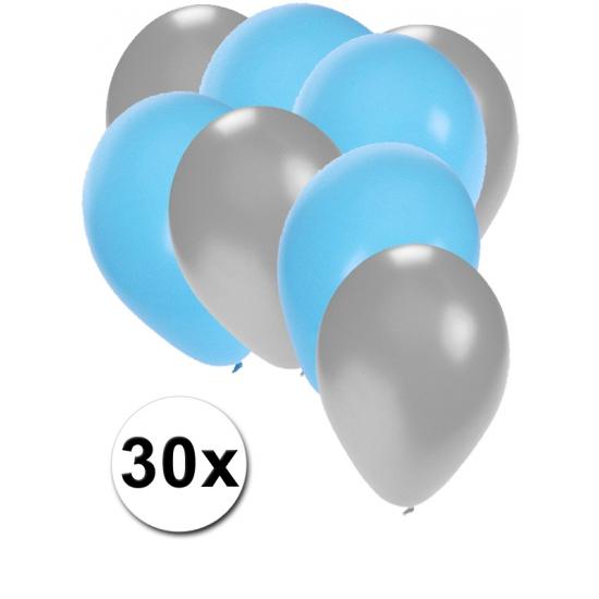 Zilveren en lichtblauwe ballonnen 30 stuks
