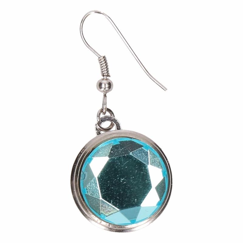 Zilveren metalen oorbellen met blauwe diamant chunk