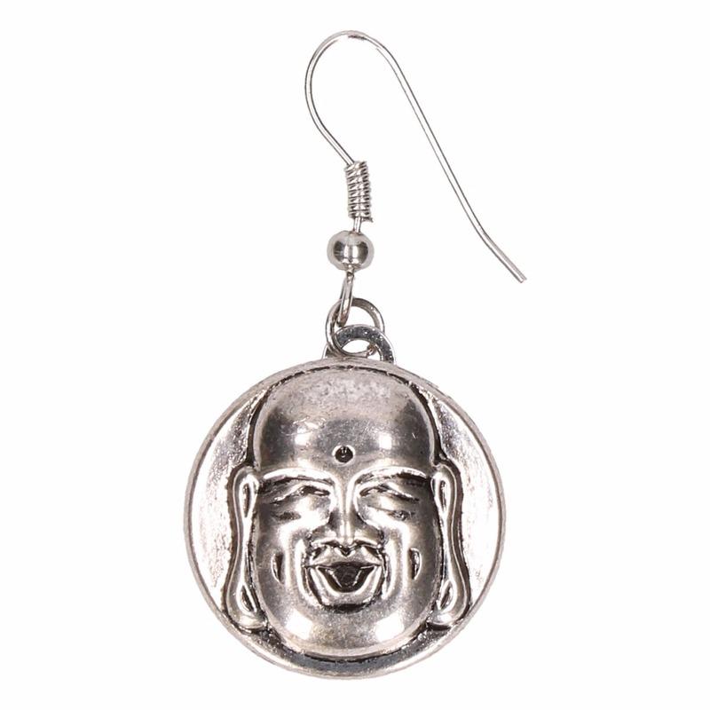 Zilveren metalen oorbellen met boeddha chunk