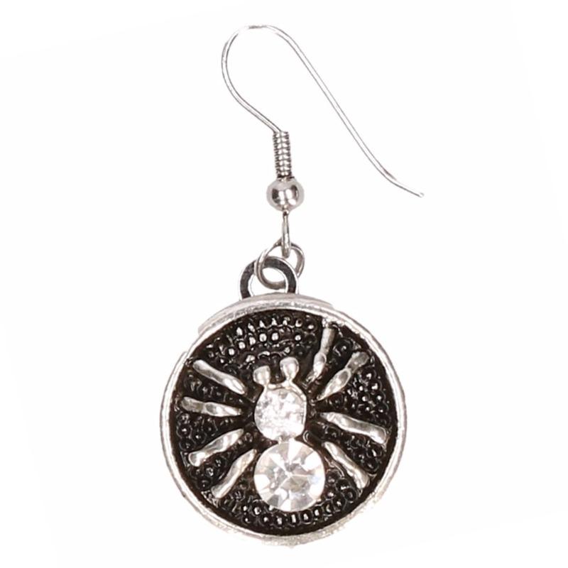 Zilveren metalen oorbellen met witte spin chunk
