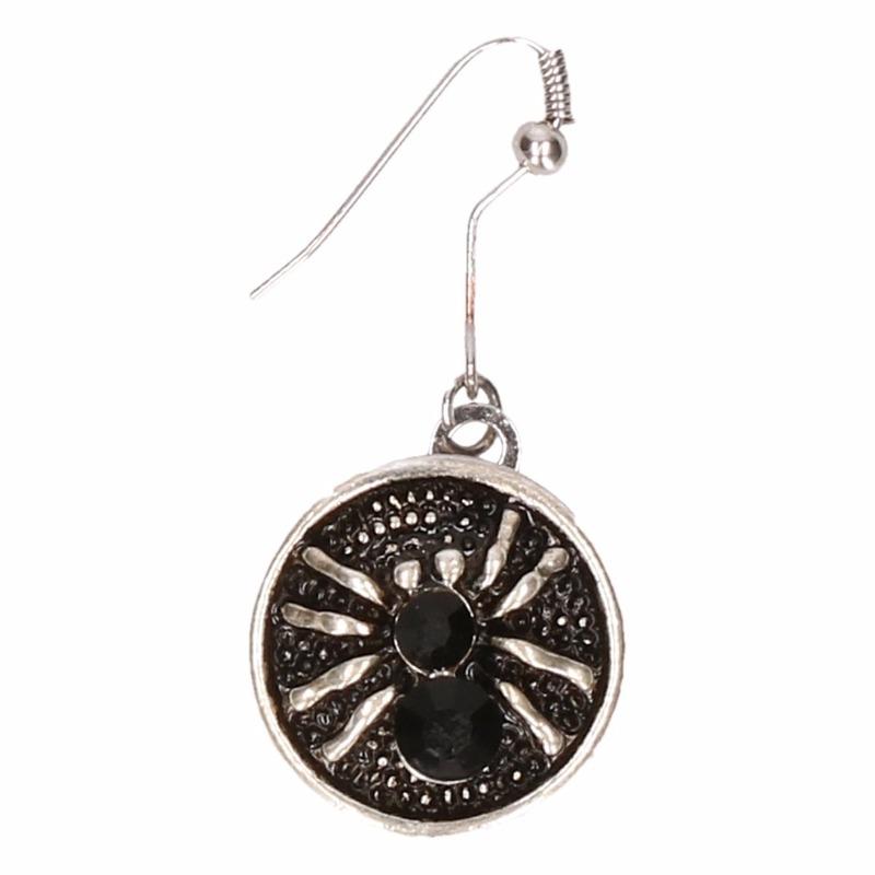 Zilveren metalen oorbellen met zwarte spin chunk