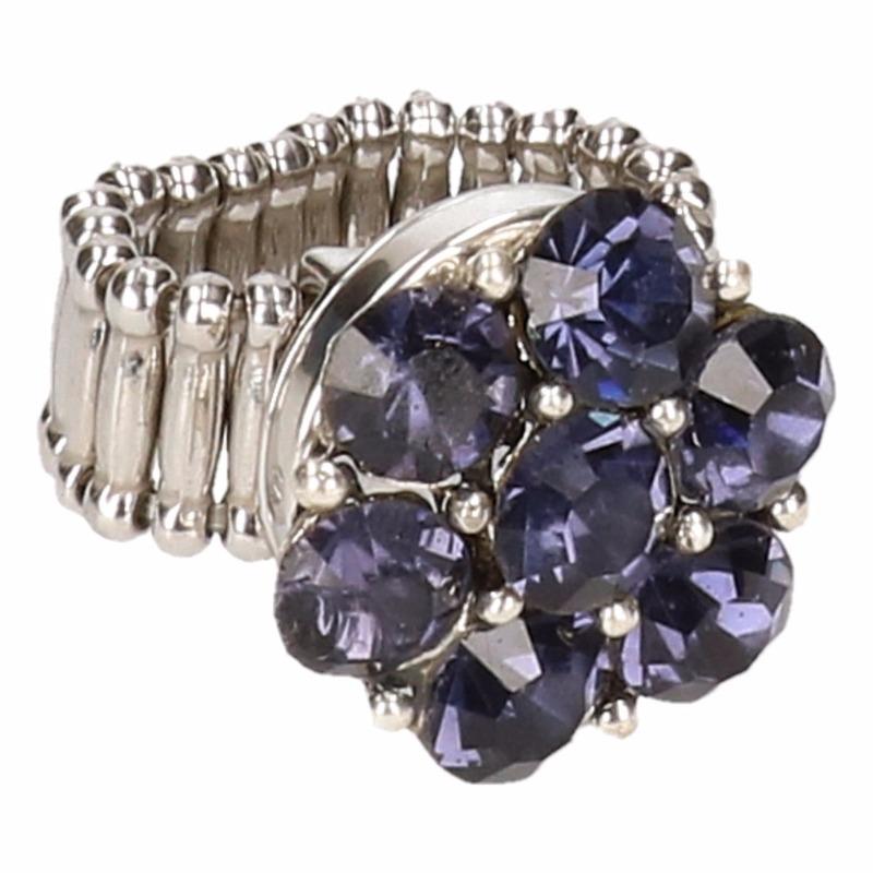 Zilveren metalen ring met paarse steentjes