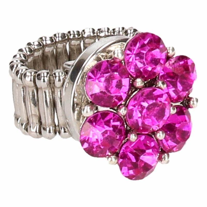 Zilveren metalen ring met roze steentjes