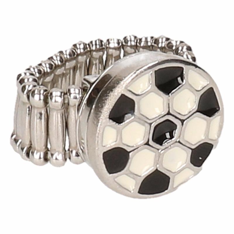 Zilveren metalen ring met voetbal chunk