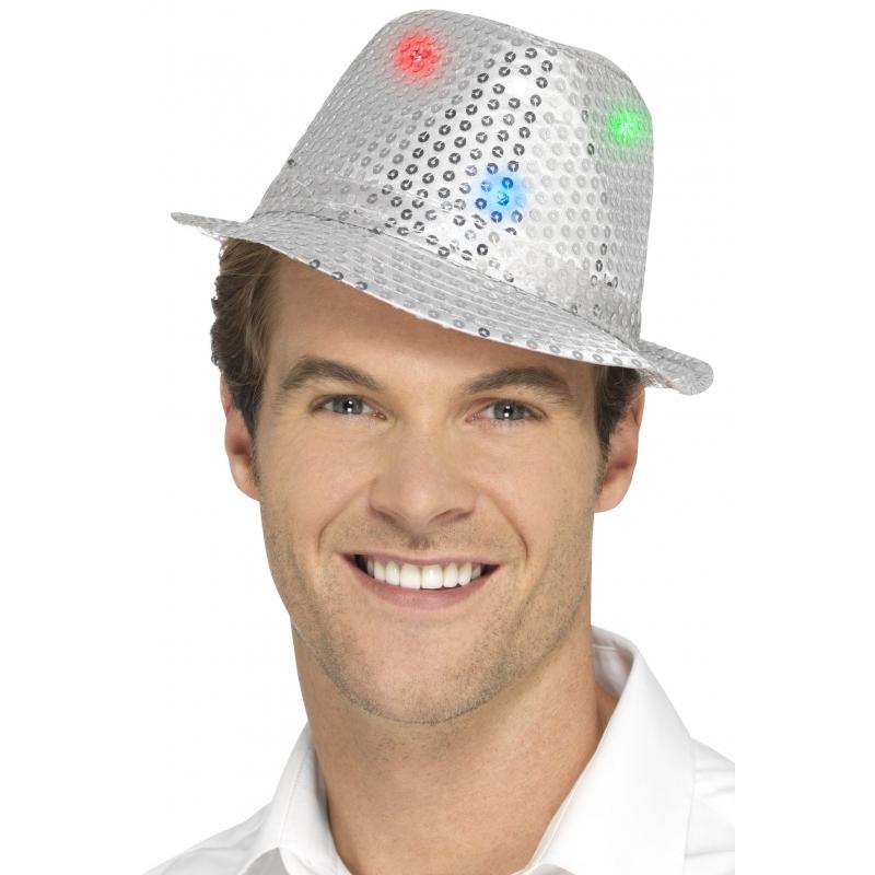 Zilveren pailletten hoedjes met LED lichtjes