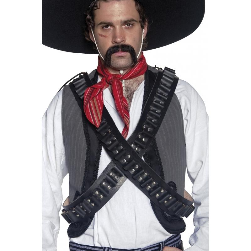 Zwart cowboy of Mexicaan bandiet verkleed kogelriem