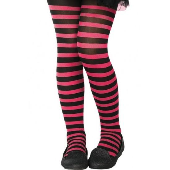 Zwart/roze 40 denier verkleed panty voor kinderen