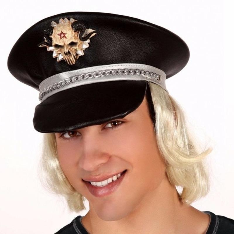 Zwarte chauffeurs pet met blond haar