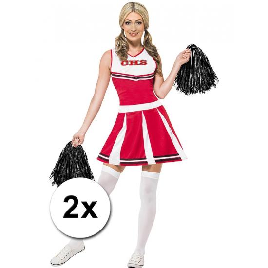 Zwarte cheerballs 28 cm set