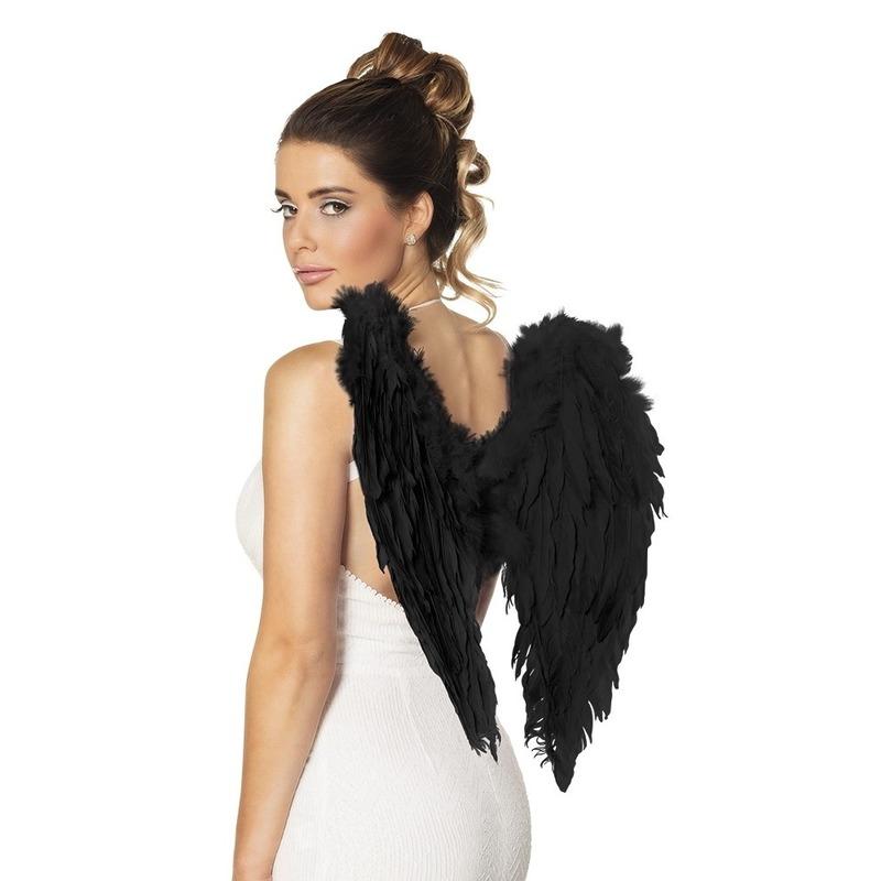Zwarte engel vleugels 50 cm