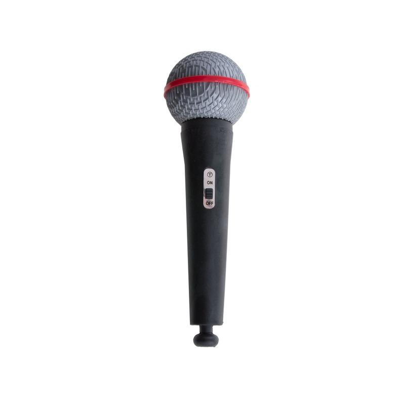 Zwarte nep microfoon popster 19 cm