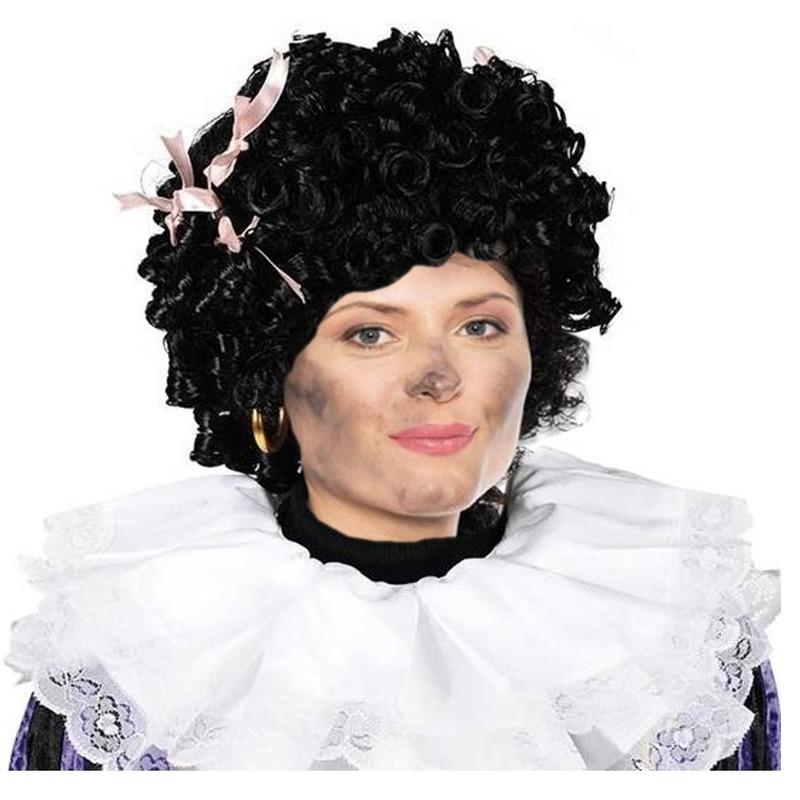 Zwarte of roetveeg Pieten pruik met strikjes dames
