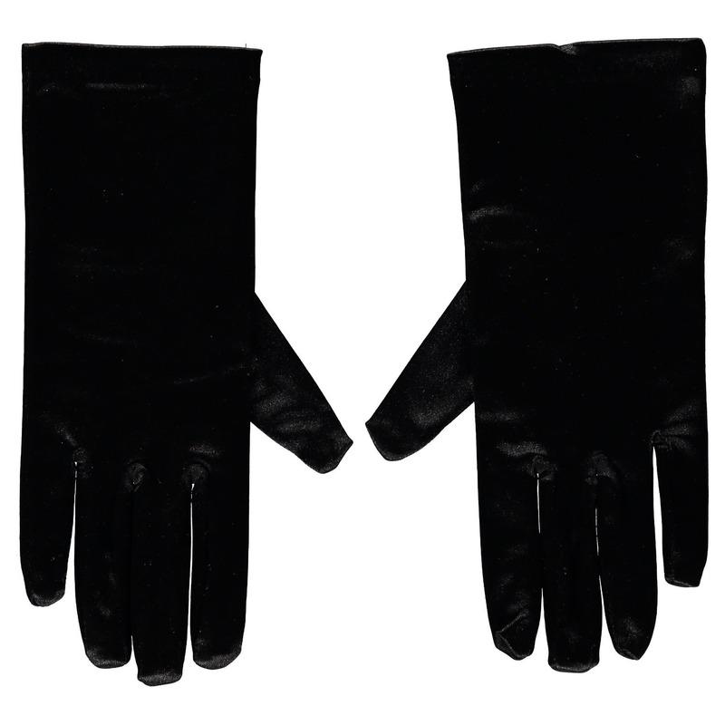 Zwarte satijnen verkleed handschoenen 20 cm