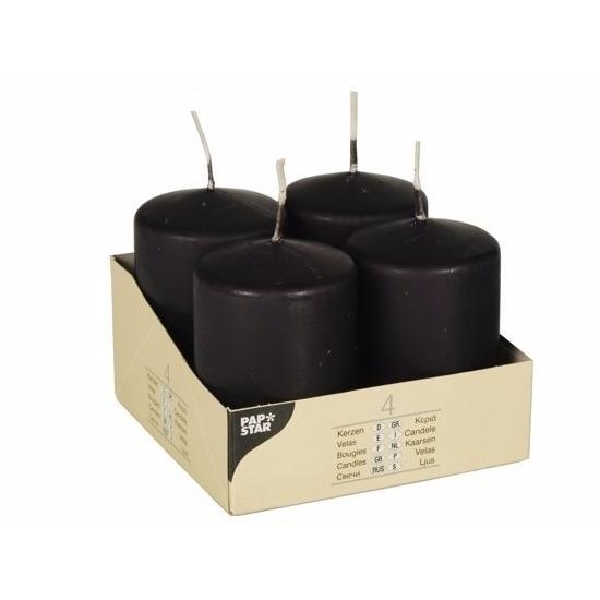 Zwarte stomp kaarsen set 4 stuks