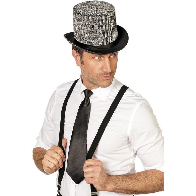 Zwarte verkleed stropdassen 41 cm voor dames-heren