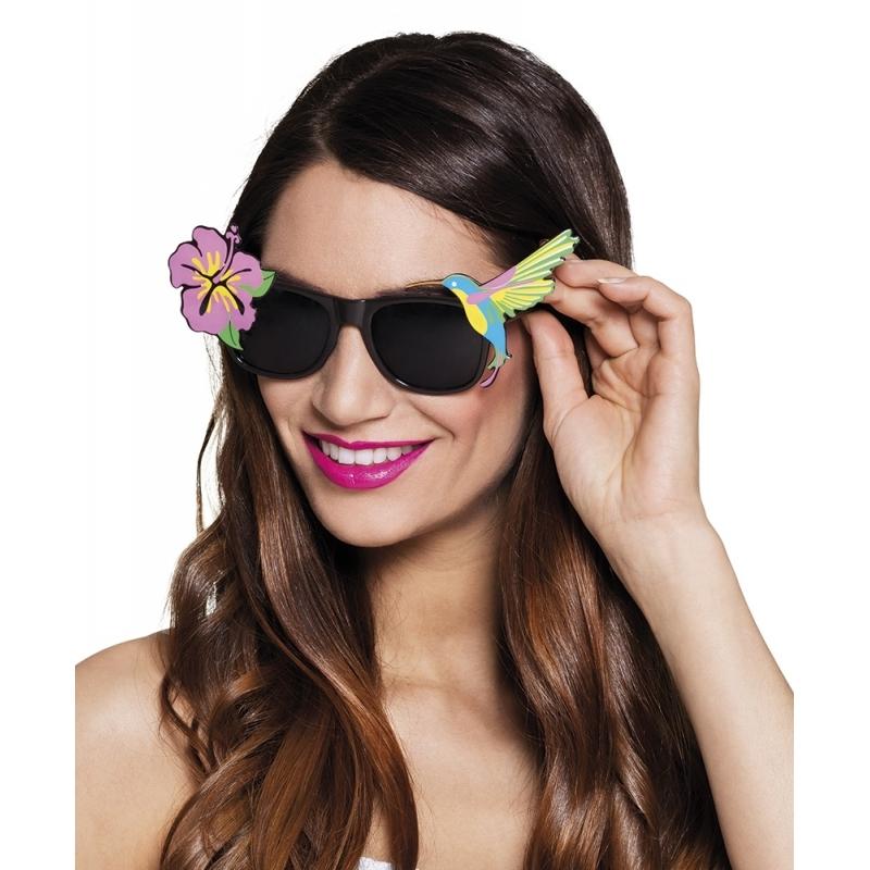 Zwarte zonnebril met bloem en vogel