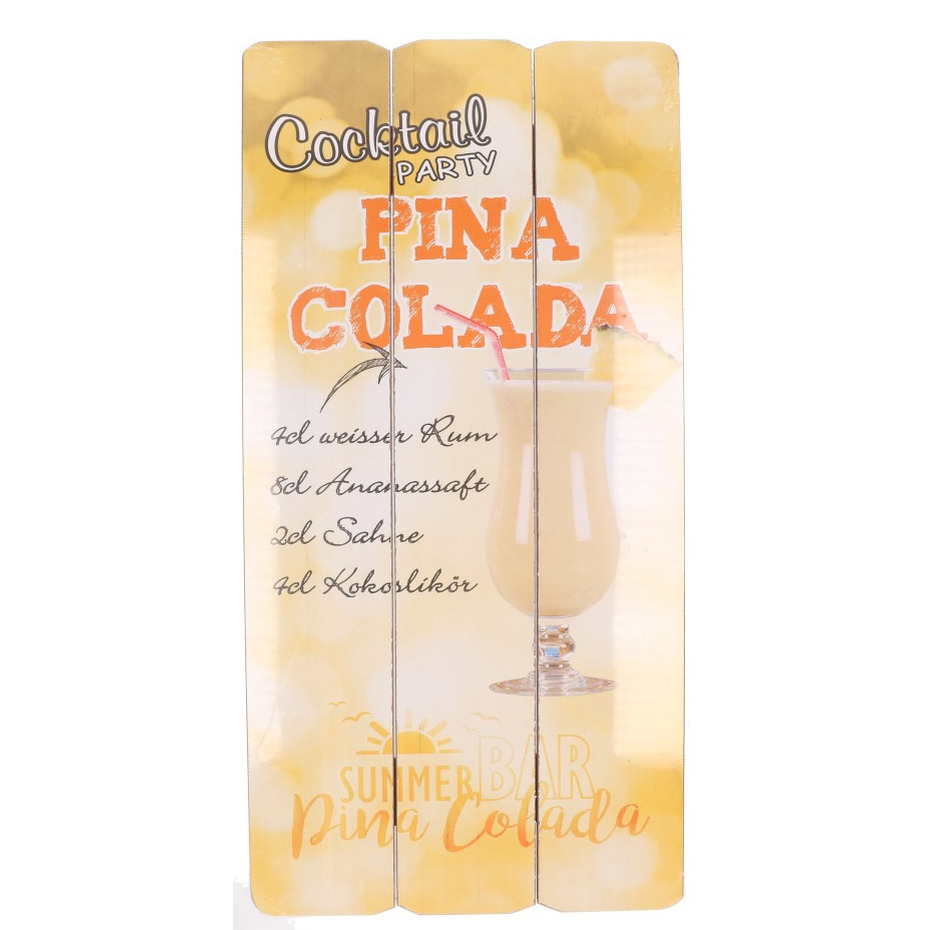 Houten muurplaatje Pina Colada cocktail